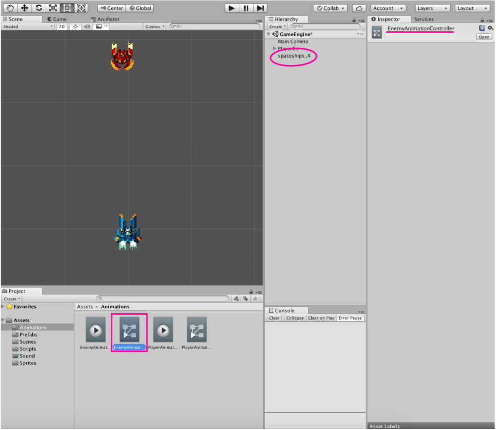 UNITY | PROJECT | SPACE SHOOTER 2D | 4  Enemy Animation